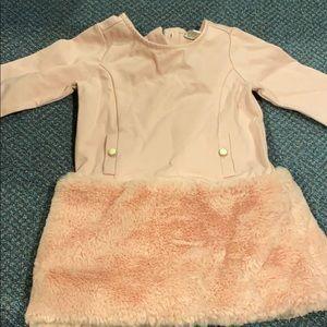 Faux Fur Trimmed Dress